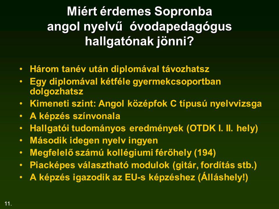 Miért érdemes Sopronba angol nyelvű óvodapedagógus hallgatónak jönni