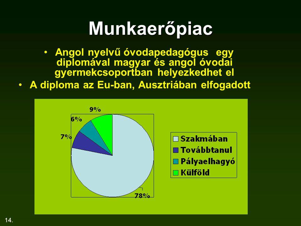 Munkaerőpiac Angol nyelvű óvodapedagógus egy diplomával magyar és angol óvodai gyermekcsoportban helyezkedhet el.