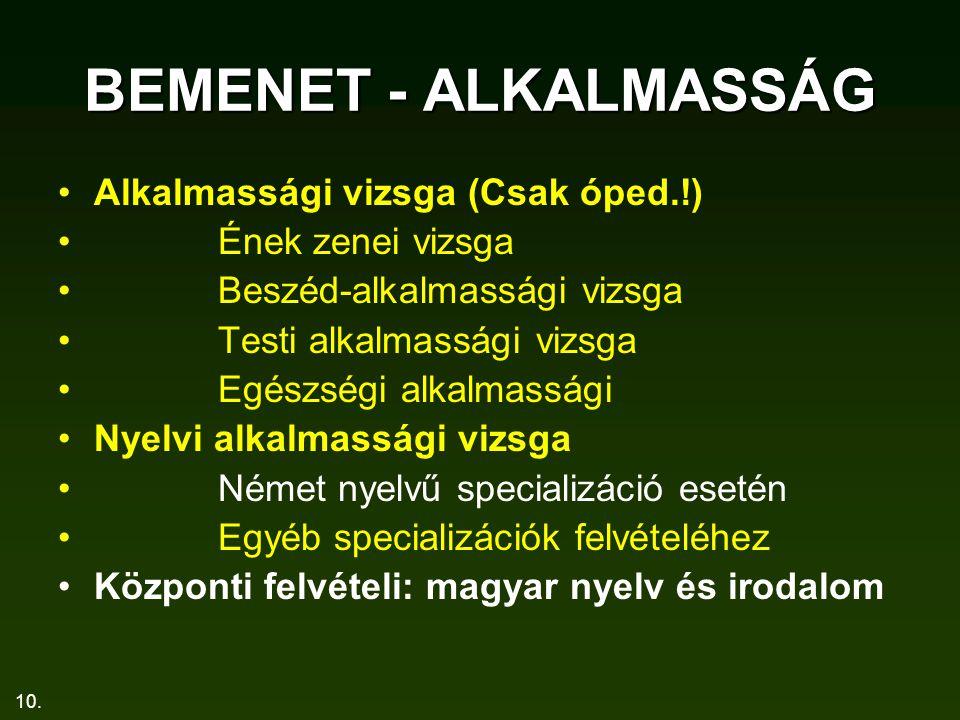 BEMENET - ALKALMASSÁG Alkalmassági vizsga (Csak óped.!)