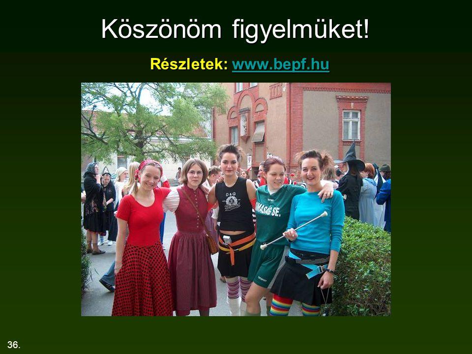Köszönöm figyelmüket! Részletek: www.bepf.hu
