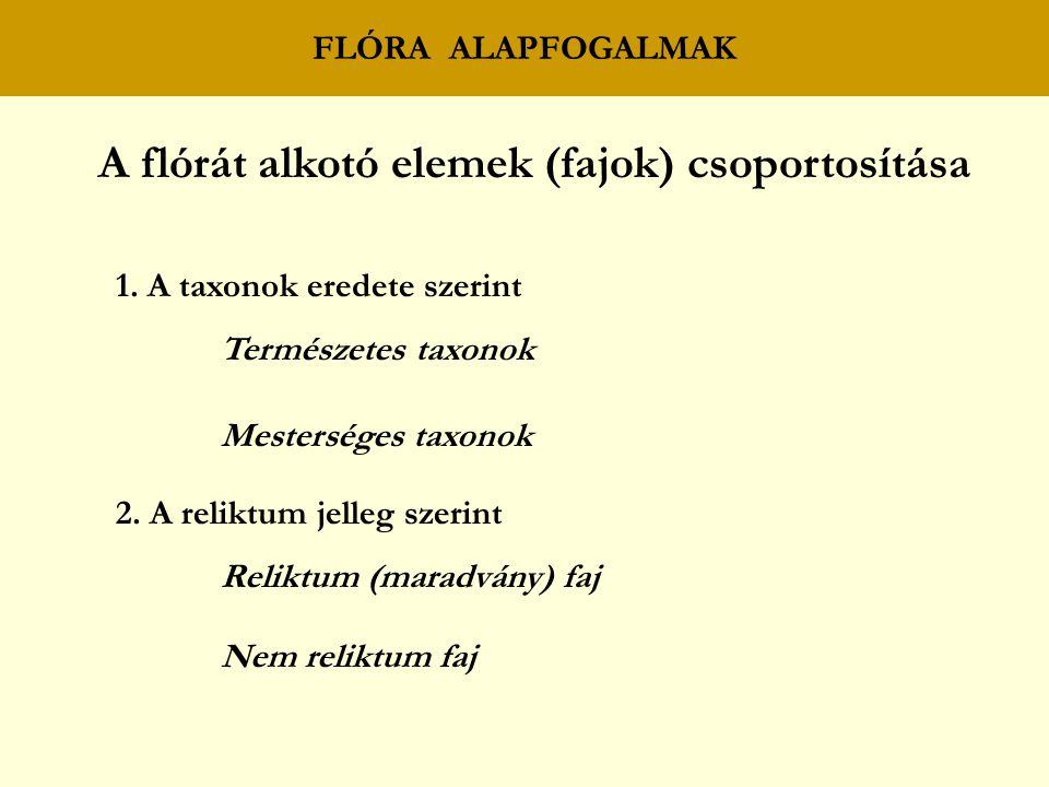 A flórát alkotó elemek (fajok) csoportosítása
