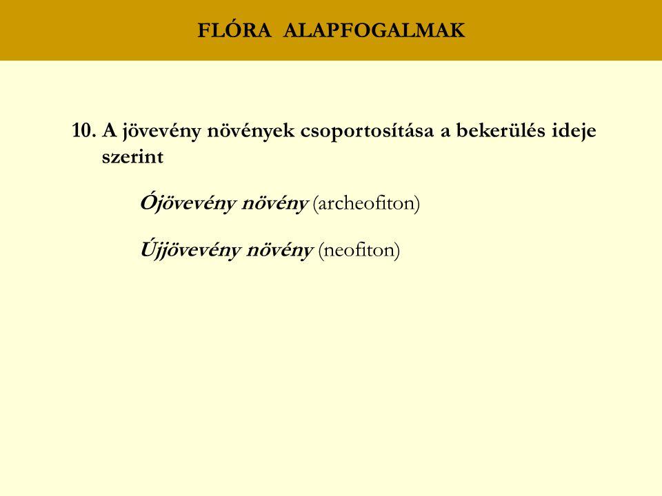 FLÓRA ALAPFOGALMAK 10. A jövevény növények csoportosítása a bekerülés ideje. szerint. Ójövevény növény (archeofiton)