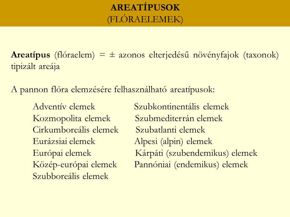 AREATÍPUSOK (FLÓRAELEMEK)