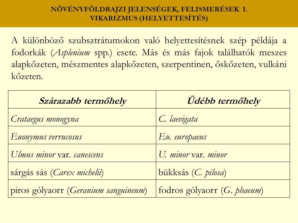 NÖVÉNYFÖLDRAJZI JELENSÉGEK, FELISMERÉSEK I. VIKARIZMUS (HELYETTESÍTÉS)
