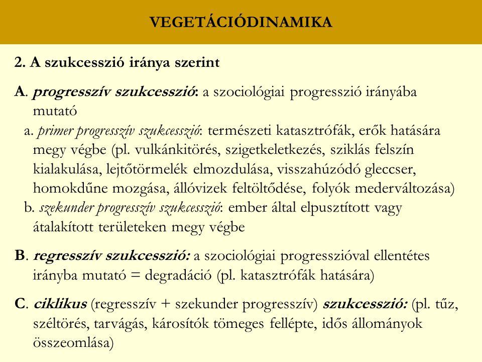 VEGETÁCIÓDINAMIKA 2. A szukcesszió iránya szerint. A. progresszív szukcesszió: a szociológiai progresszió irányába mutató.