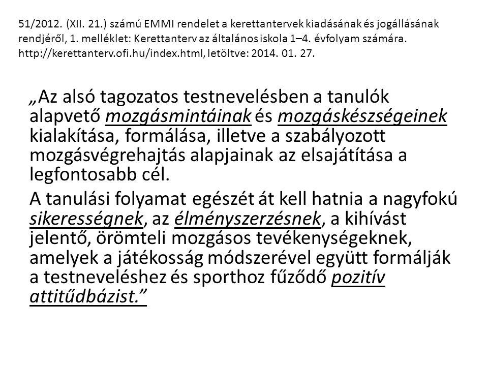 51/2012. (XII. 21.) számú EMMI rendelet a kerettantervek kiadásának és jogállásának rendjéről, 1. melléklet: Kerettanterv az általános iskola 1–4. évfolyam számára. http://kerettanterv.ofi.hu/index.html, letöltve: 2014. 01. 27.
