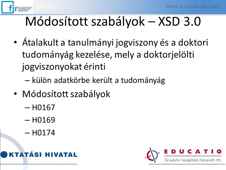 Módosított szabályok – XSD 3.0