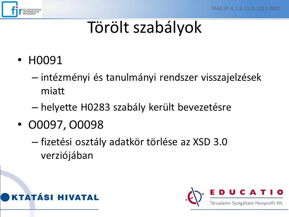 TÁMOP-4.1.3-11/1-2011-0001 Törölt szabályok. H0091. intézményi és tanulmányi rendszer visszajelzések miatt.