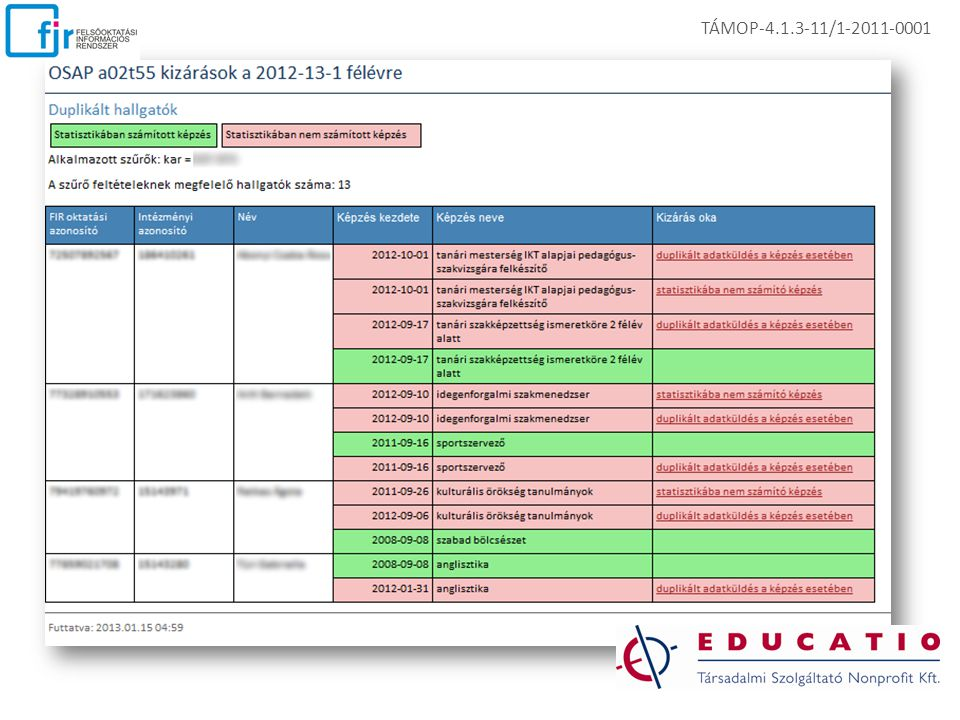 TÁMOP-4.1.3-11/1-2011-0001 EKOP-1.A.1-08/C-2009-0009