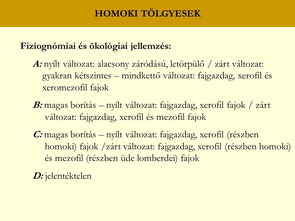 HOMOKI TÖLGYESEK Fiziognómiai és ökológiai jellemzés: A: nyílt változat: alacsony záródású, letörpülő / zárt változat: