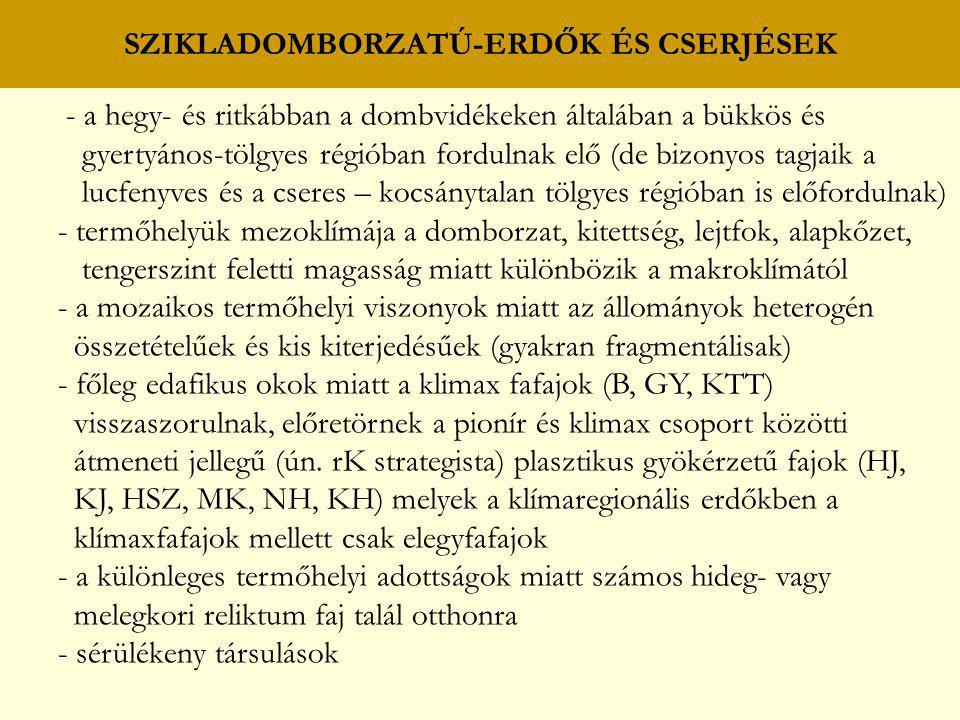 SZIKLADOMBORZATÚ-ERDŐK ÉS CSERJÉSEK