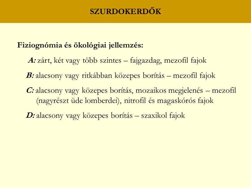 SZURDOKERDŐK Fiziognómia és ökológiai jellemzés: A: zárt, két vagy több szintes – fajgazdag, mezofil fajok.