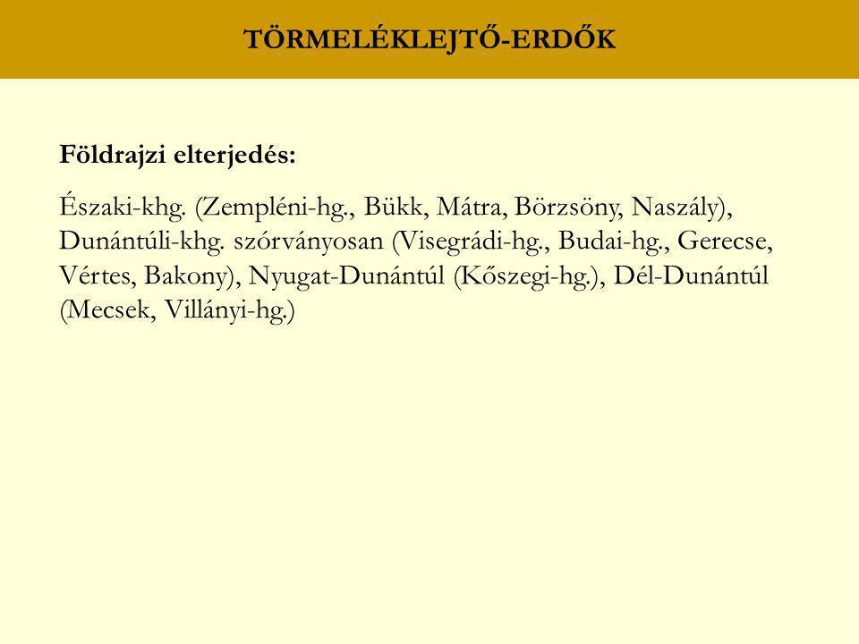 TÖRMELÉKLEJTŐ-ERDŐK Földrajzi elterjedés: Északi-khg. (Zempléni-hg., Bükk, Mátra, Börzsöny, Naszály),