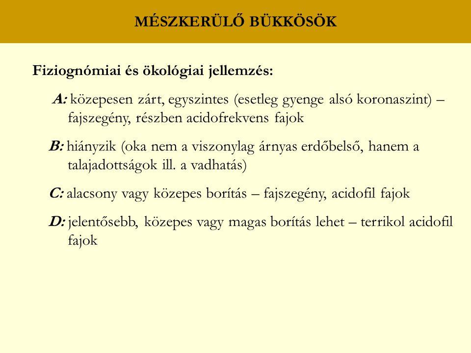 MÉSZKERÜLŐ BÜKKÖSÖK Fiziognómiai és ökológiai jellemzés: A: közepesen zárt, egyszintes (esetleg gyenge alsó koronaszint) –