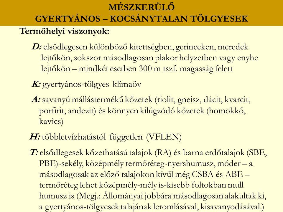 MÉSZKERÜLŐ GYERTYÁNOS – KOCSÁNYTALAN TÖLGYESEK