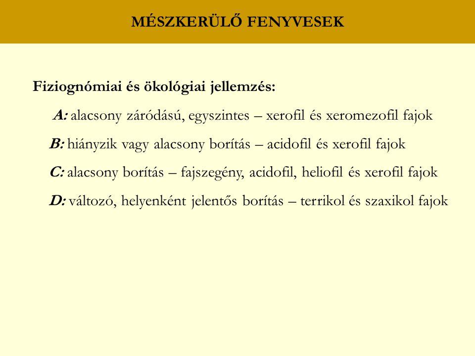 MÉSZKERÜLŐ FENYVESEK Fiziognómiai és ökológiai jellemzés: A: alacsony záródású, egyszintes – xerofil és xeromezofil fajok.