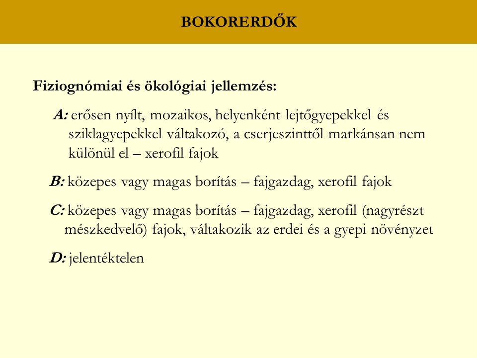 BOKORERDŐK Fiziognómiai és ökológiai jellemzés: A: erősen nyílt, mozaikos, helyenként lejtőgyepekkel és.