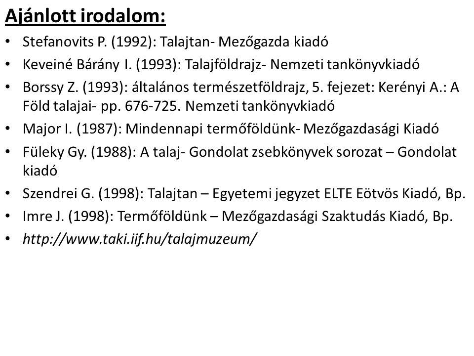 Ajánlott irodalom: Stefanovits P. (1992): Talajtan- Mezőgazda kiadó