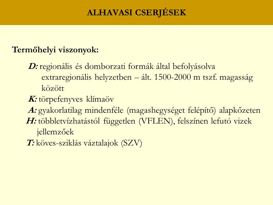 ALHAVASI CSERJÉSEK Termőhelyi viszonyok: D: regionális és domborzati formák által befolyásolva.