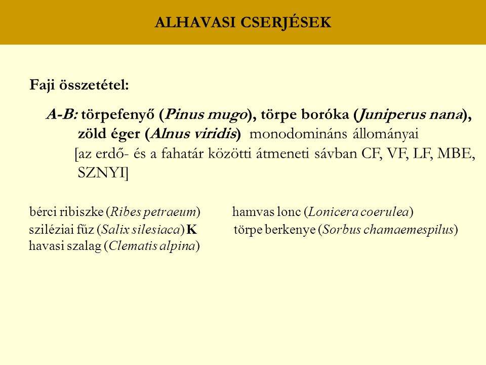 A-B: törpefenyő (Pinus mugo), törpe boróka (Juniperus nana),
