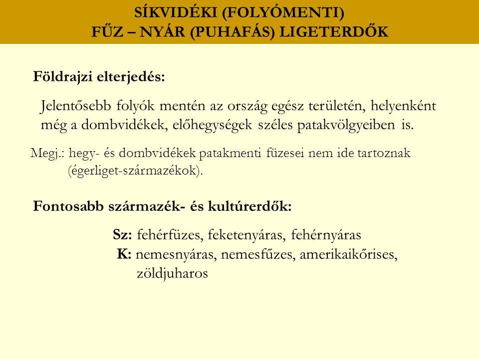 SÍKVIDÉKI (FOLYÓMENTI) FŰZ – NYÁR (PUHAFÁS) LIGETERDŐK