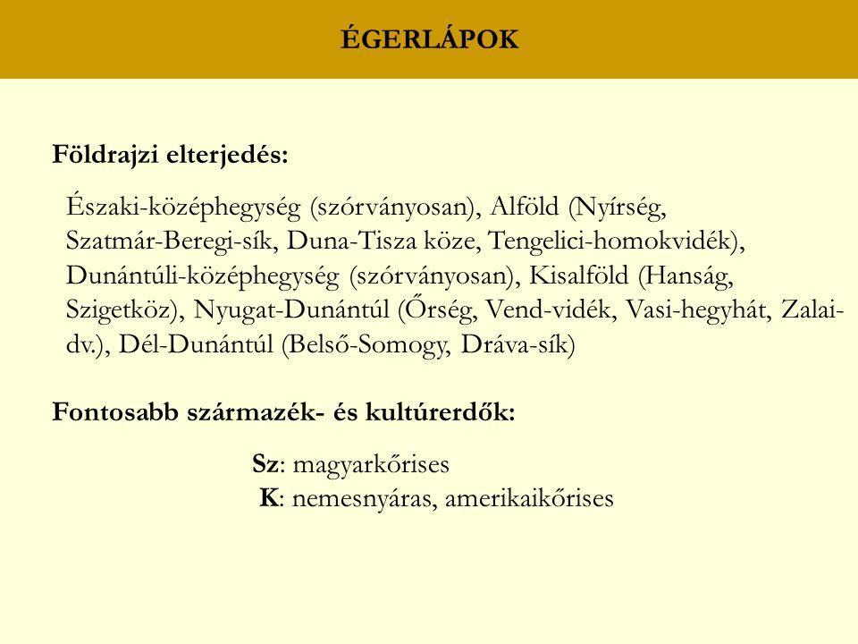 ÉGERLÁPOK Földrajzi elterjedés: Északi-középhegység (szórványosan), Alföld (Nyírség, Szatmár-Beregi-sík, Duna-Tisza köze, Tengelici-homokvidék),