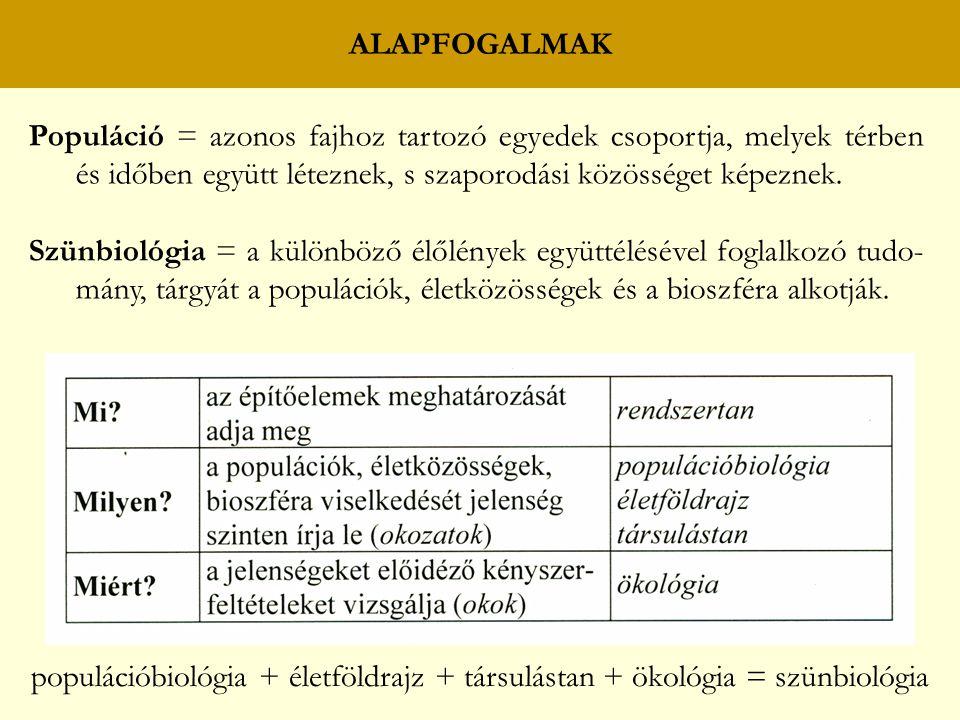 ALAPFOGALMAK Populáció = azonos fajhoz tartozó egyedek csoportja, melyek térben és időben együtt léteznek, s szaporodási közösséget képeznek.