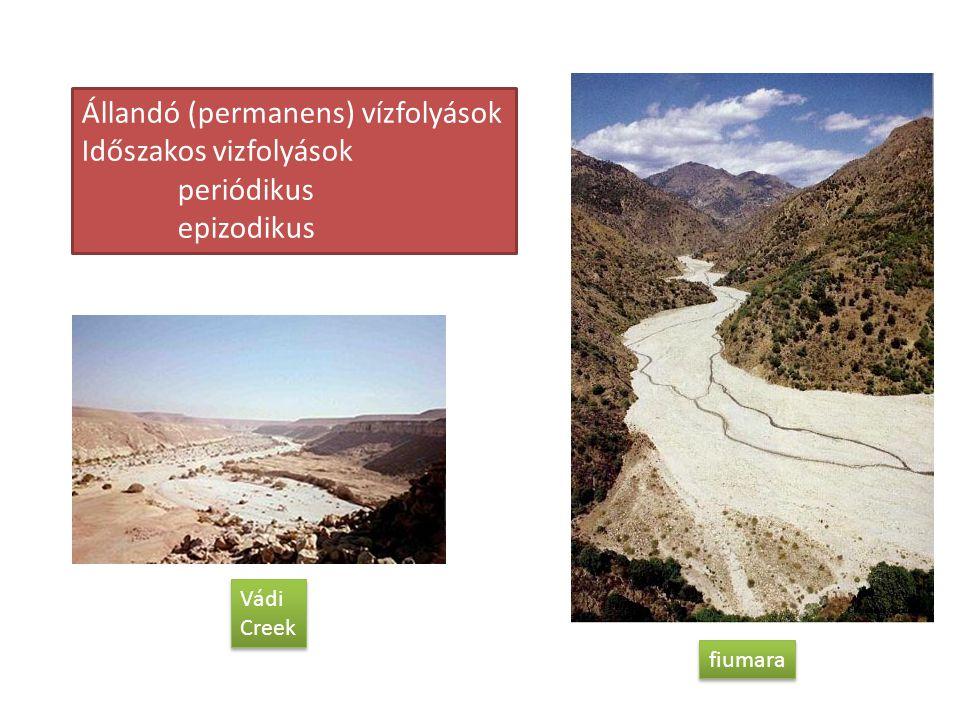 Állandó (permanens) vízfolyások Időszakos vizfolyások periódikus