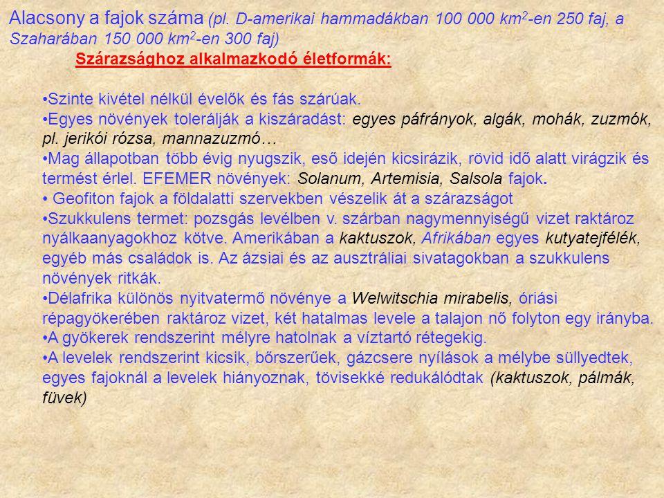 Alacsony a fajok száma (pl