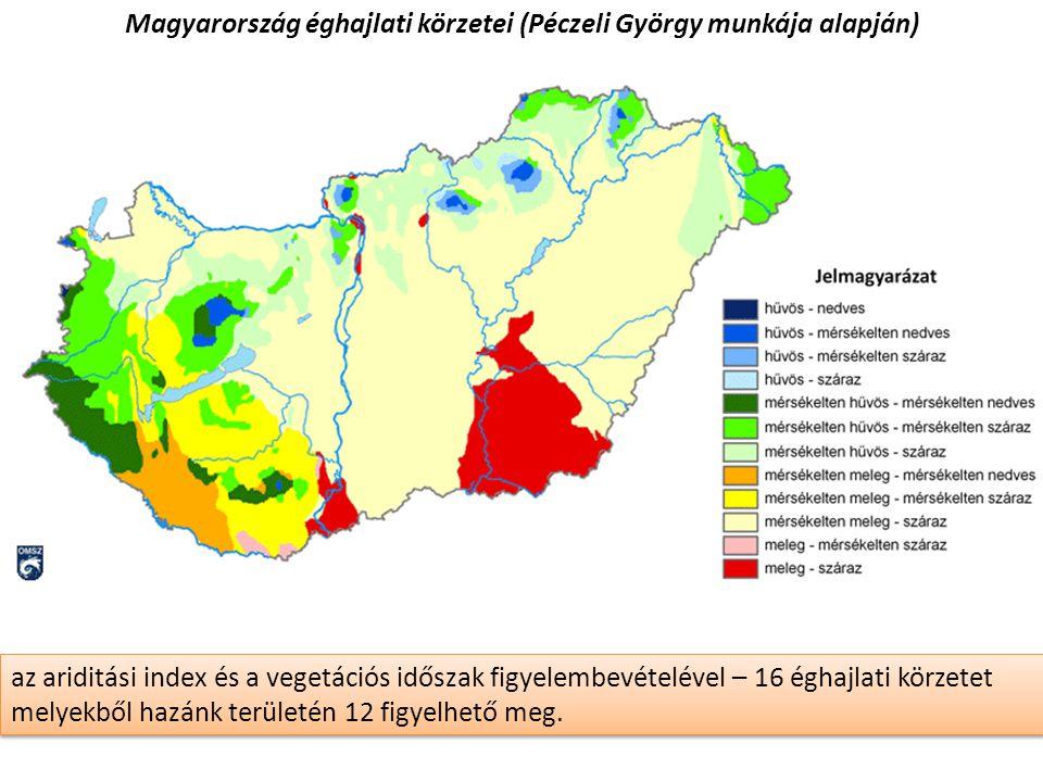 Magyarország éghajlati körzetei (Péczeli György munkája alapján)