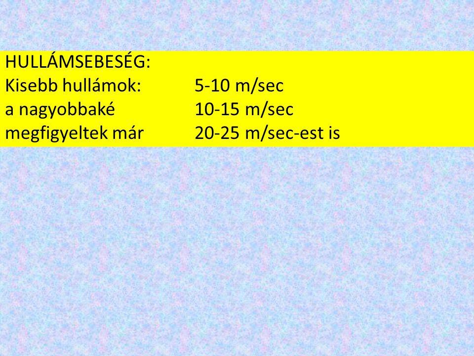 HULLÁMSEBESÉG: Kisebb hullámok: 5-10 m/sec a nagyobbaké 10-15 m/sec megfigyeltek már 20-25 m/sec-est is