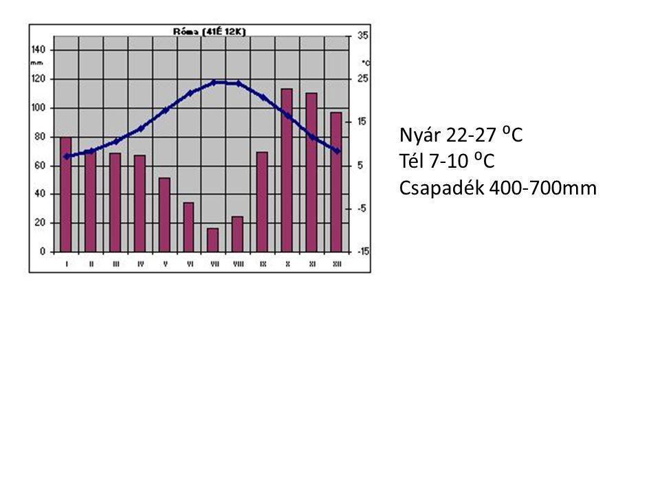 Nyár 22-27 ⁰C Tél 7-10 ⁰C Csapadék 400-700mm