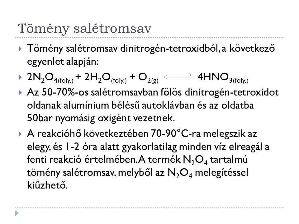 Tömény salétromsav Tömény salétromsav dinitrogén-tetroxidból, a következő egyenlet alapján: