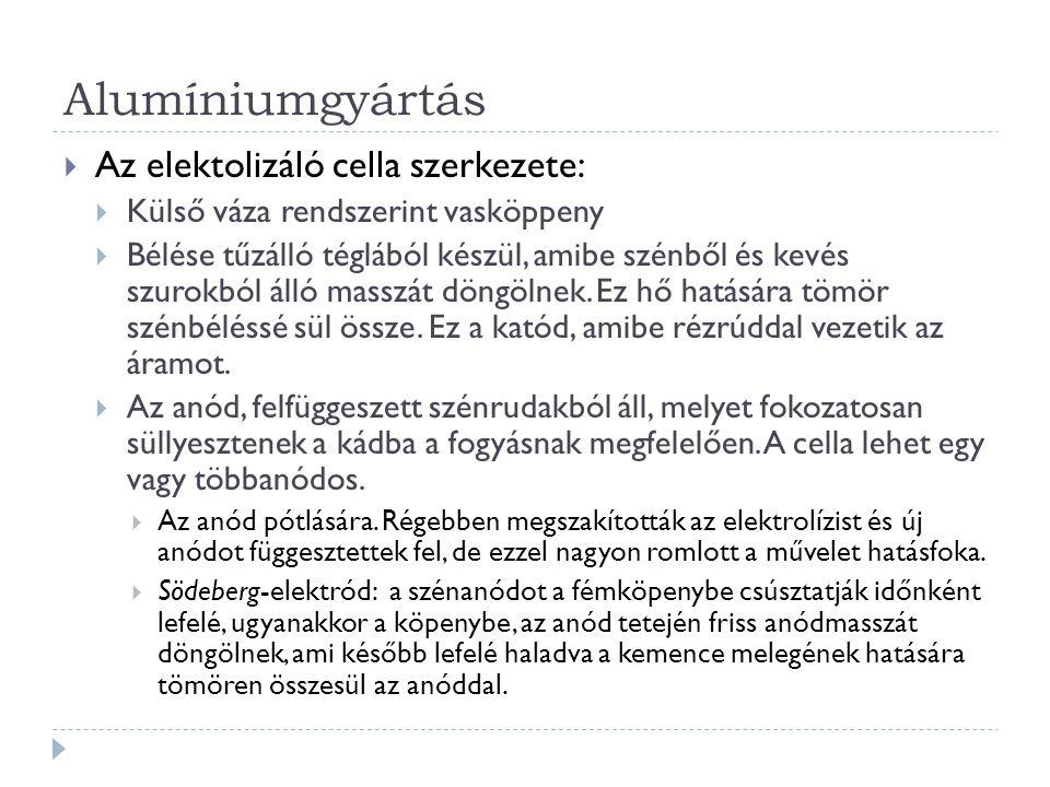 Alumíniumgyártás Az elektolizáló cella szerkezete: