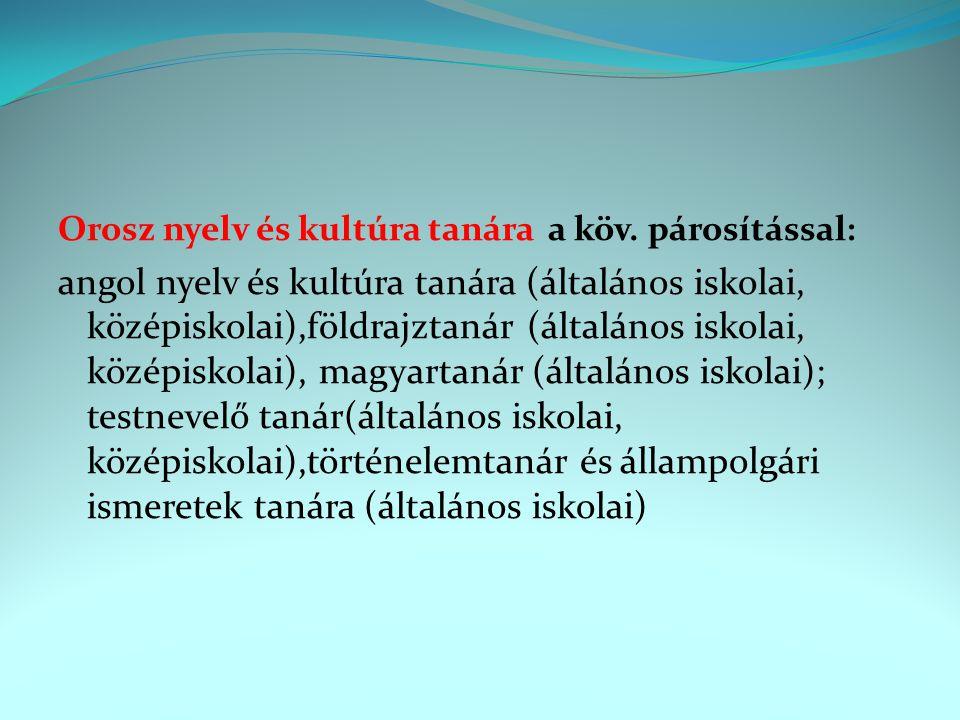 Orosz nyelv és kultúra tanára a köv. párosítással: