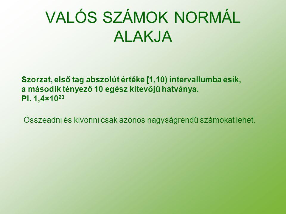 VALÓS SZÁMOK NORMÁL ALAKJA