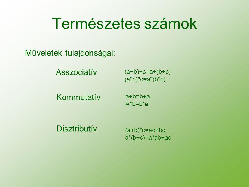 Természetes számok Műveletek tulajdonságai: Asszociatív Kommutatív