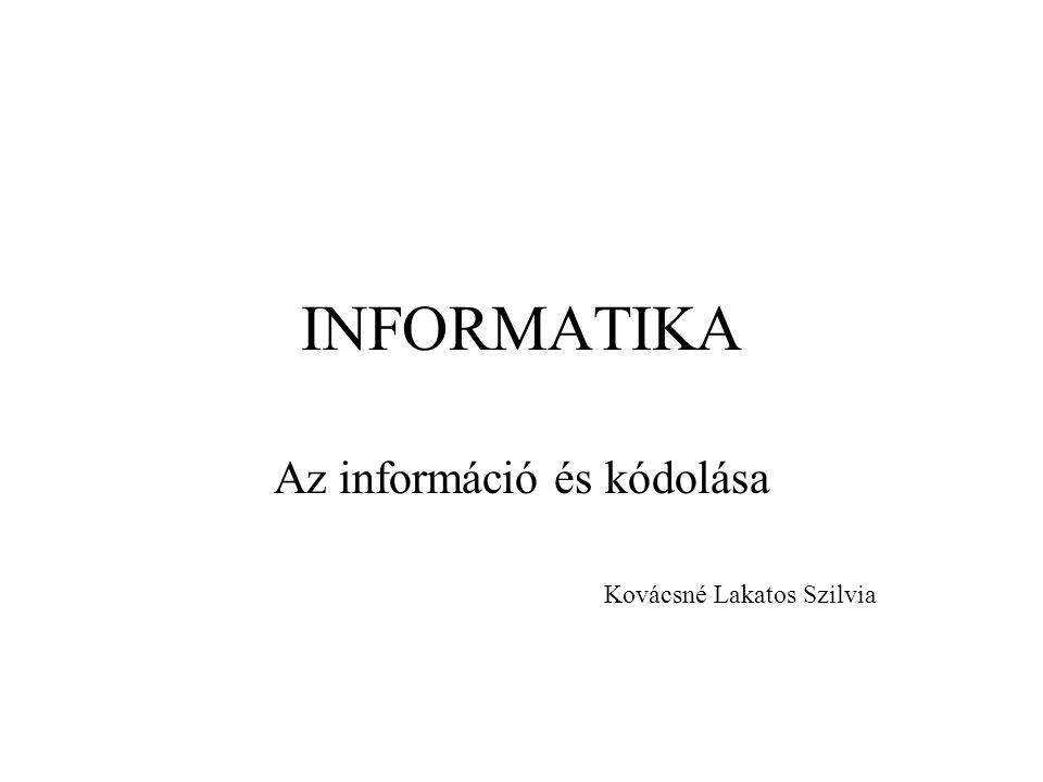 Az információ és kódolása Kovácsné Lakatos Szilvia