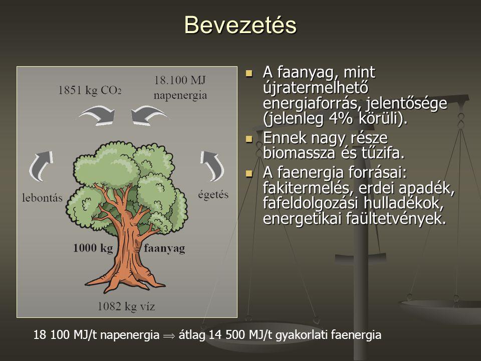 Bevezetés A faanyag, mint újratermelhető energiaforrás, jelentősége (jelenleg 4% körüli). Ennek nagy része biomassza és tűzifa.