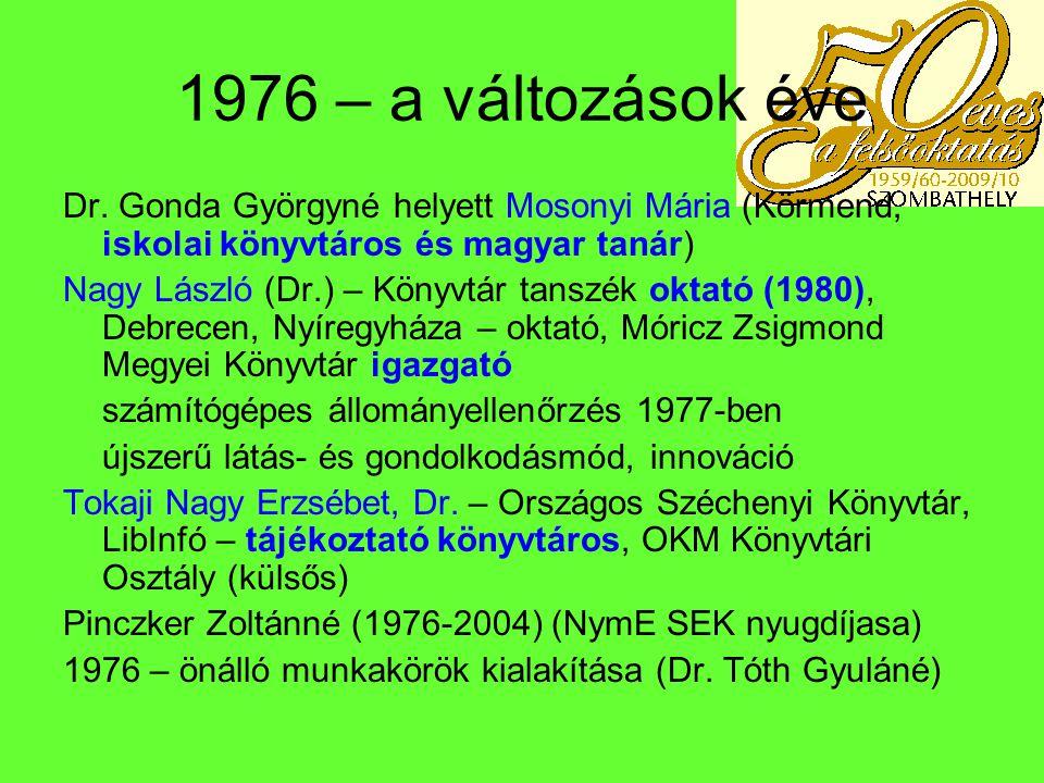 1976 – a változások éve Dr. Gonda Györgyné helyett Mosonyi Mária (Körmend, iskolai könyvtáros és magyar tanár)