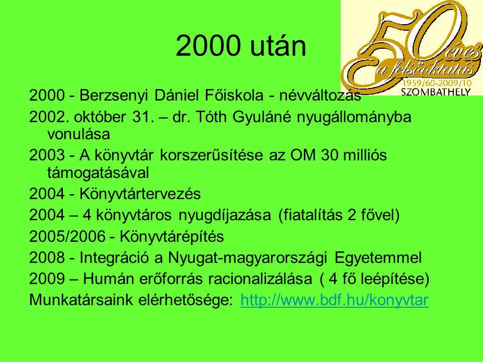 2000 után 2000 - Berzsenyi Dániel Főiskola - névváltozás