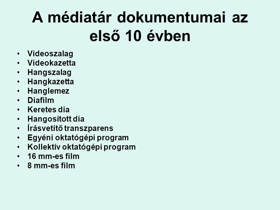 A médiatár dokumentumai az első 10 évben