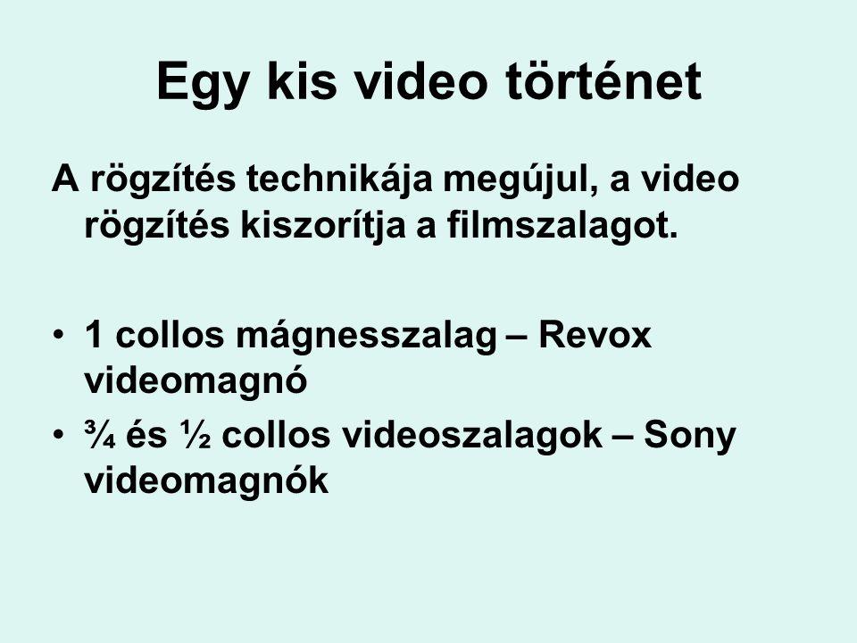 Egy kis video történet A rögzítés technikája megújul, a video rögzítés kiszorítja a filmszalagot. 1 collos mágnesszalag – Revox videomagnó.