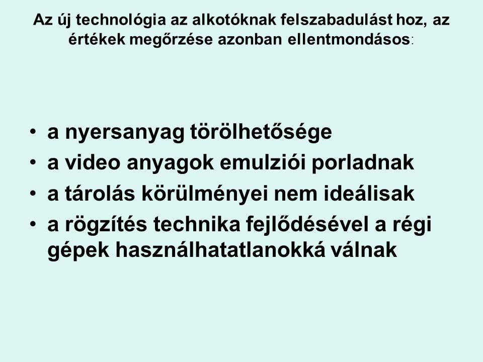 a nyersanyag törölhetősége a video anyagok emulziói porladnak
