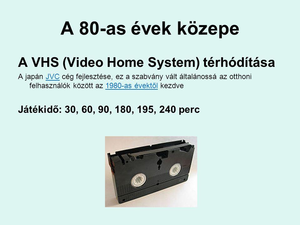 A 80-as évek közepe A VHS (Video Home System) térhódítása