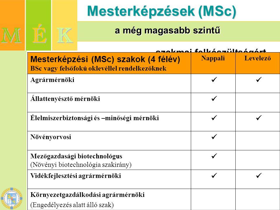 Mesterképzések (MSc) a még magasabb szintű szakmai felkészültségért
