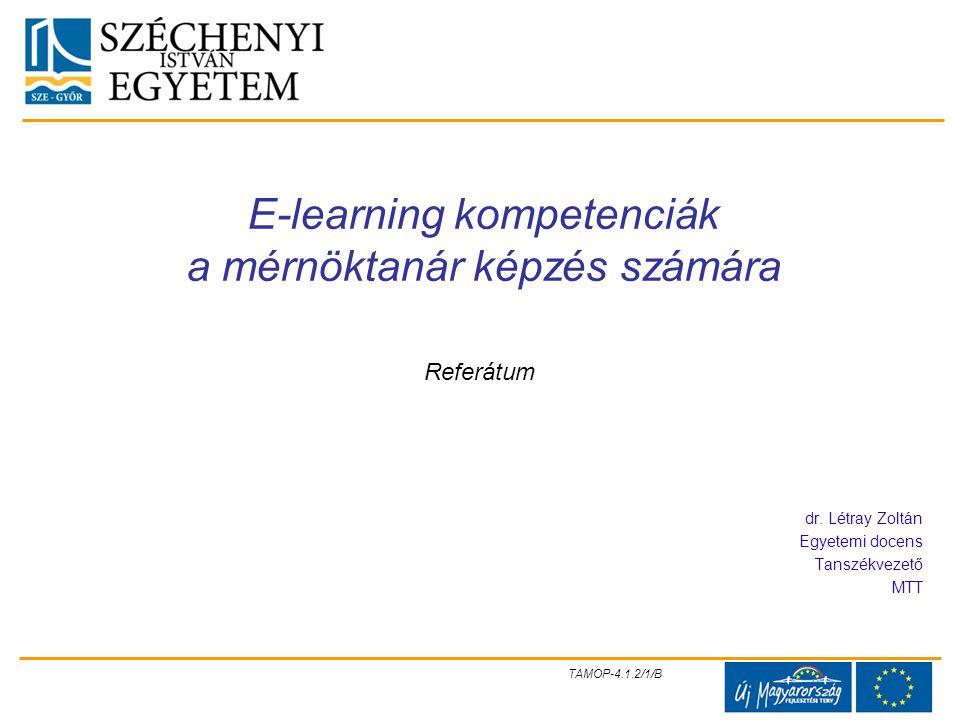E-learning kompetenciák a mérnöktanár képzés számára
