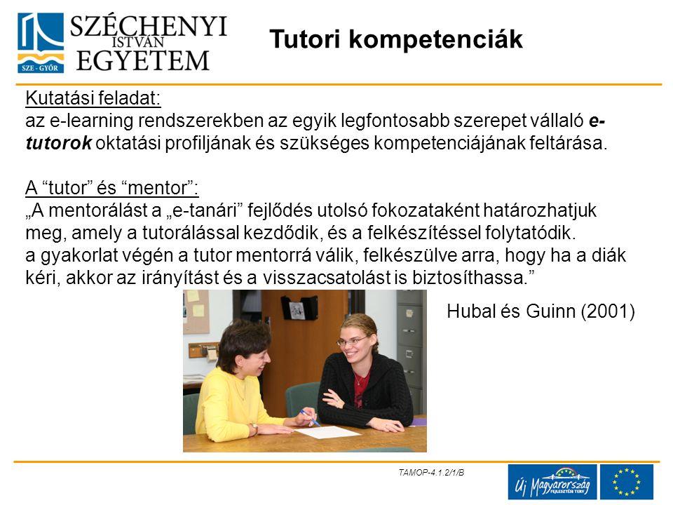 Tutori kompetenciák Kutatási feladat:
