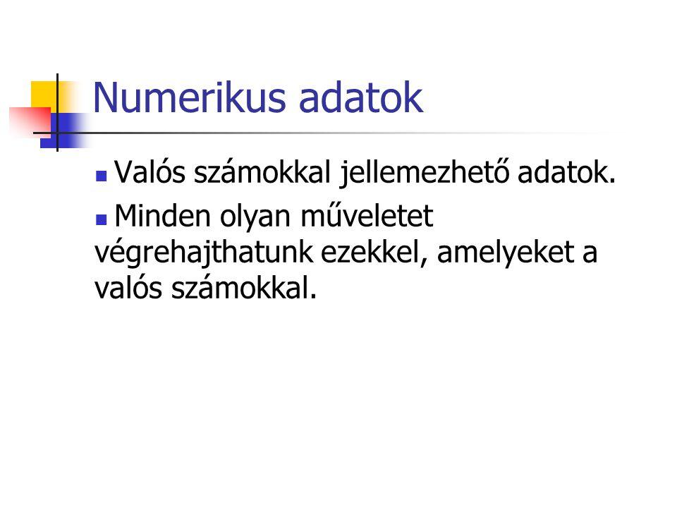 Numerikus adatok Valós számokkal jellemezhető adatok.