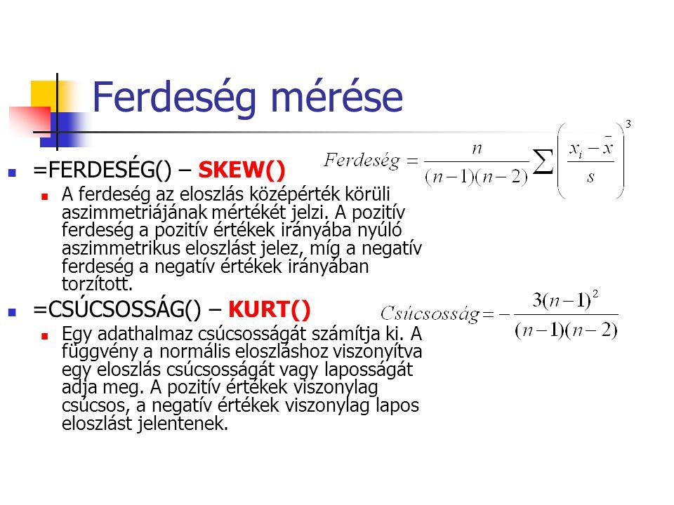 Ferdeség mérése =FERDESÉG() – SKEW() =CSÚCSOSSÁG() – KURT()